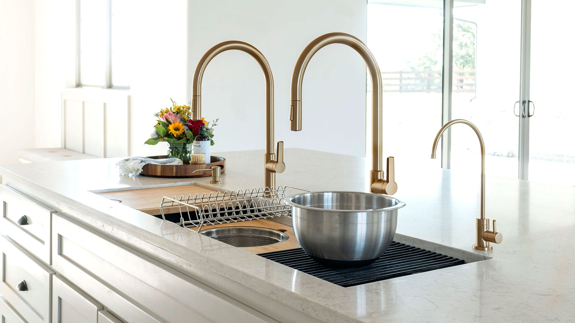 57-inch-sink-Kore-gold-Oletto-faucets